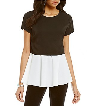 Chelsea & Theodore Twofer Crew Neck Short Sleeve Blouse