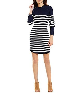 Lovers + Friends Coastline Round Neck Long Sleeve Printed Swing Dress