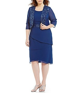 Le Bos Plus 3/4 Sleeve Beaded-Trim Tiered Jacket Dress