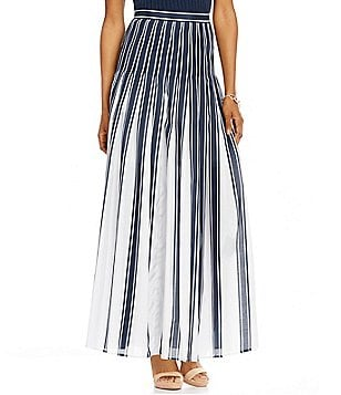 Pendleton Pleated Stripe Maxi A-Line Skirt