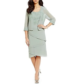 Le Bos Lace-Trim Tiered 2-Piece Jacket Dress