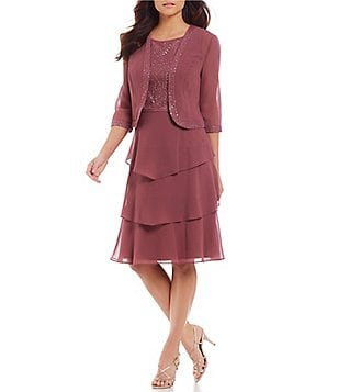 Le Bos Embroidered Tiered 2-Piece Jacket Dress