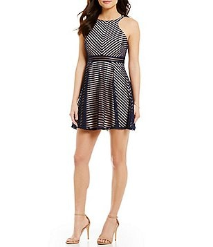 Dear Moon Shadow-Stripe Skater Dress