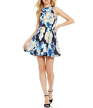 Teeze Me Blurred Floral Print A-Line Dress