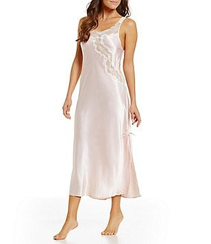 Oscar de la Renta Pink Label Charmeuse & Lace Nightgown