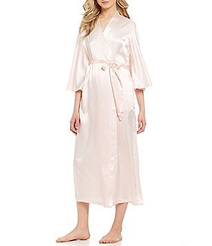 Oscar de la Renta Pink Label Long Charmeuse Wrap Robe