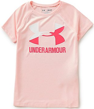 Under Armour Big Girls 7-16 Heathered Novelty Big Logo Short-Sleeve Tee