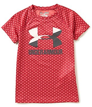 Under Armour Big Girls 7-16 Novelty Big Logo Diamond-Dotted Print UA Tech Short-Sleeve Tee