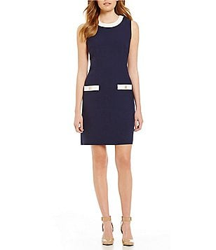 KARL LAGERFELD PARIS Crew Neck Sleeveless Crepe Sheath Dress