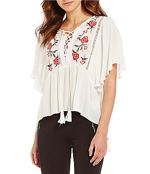 Takara Floral Embroidered Tassel Lace-Up High-Low Peasant Top