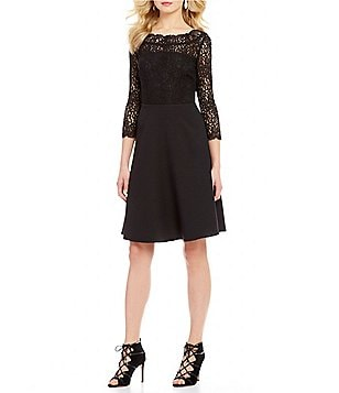 KARL LAGERFELD PARIS Lace Fit-and-Flare 3/4 Sleve Dress