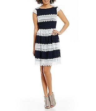 KARL LAGERFELD PARIS Striped Lace Cap Sleeve Dress