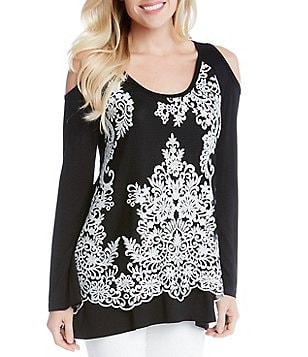 Karen Kane Lace Overlay Long Sleeve Cold-Shoulder Printed Top