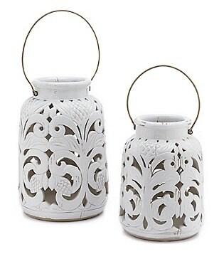 Southern Living Glazed Terracotta Lantern