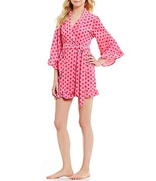 Betsey Johnson Dotted Ruffled Vintage Terry Wrap Robe