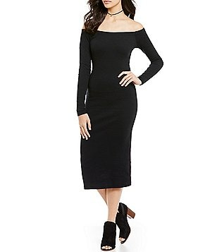 Billabong Help Myself Ribbed Knit Off-The-Shoulder Midi Dress