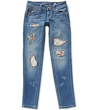 Miss Me Big Girls 7-16 Distressed Floral Patch Skinny Jeans