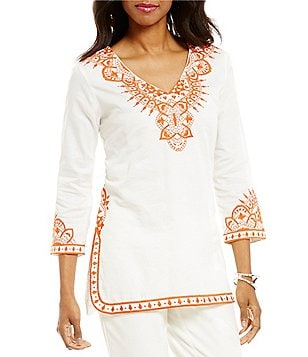 Sigrid Olsen Signature Embroidered Kurta V-Neck 3/4 Sleeve Tunic