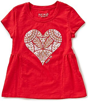Miss Me Big Girls 7-16 Embellished Heart Tee