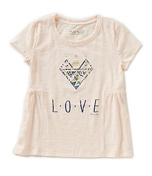Miss Me Big Girls 7-16 Love Flared Short-Sleeve Top