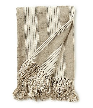 Southern Living Fringed Striped Linen Chenille Throw