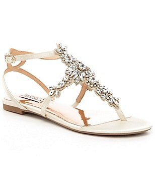 Badgley Mischka Cara Satin T-Strap Rhinestone Embellished Dress Sandals