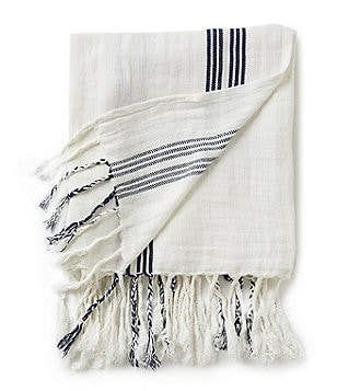 Southern Living Fringed Striped Linen Throw