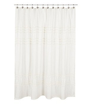 Southern Living Chantilly Chevron Pom Pom Linen Shower Curtain