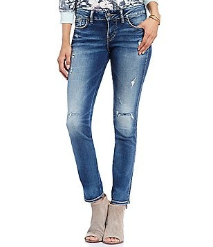 Silver Jeans Co. Suki Mid-Rise Distressed Skinny Jeans