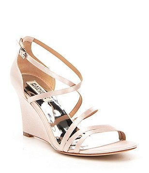 Badgley Mischka Bonanza Satin Criss Cross Banded Dress Wedge Sandals