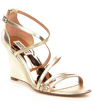 Badgley Mischka Bonanza Metallic Leather Banded Wedge Dress Sandals