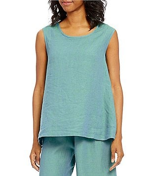 Bryn Walker Huxley V-Neck Cap Sleeve Linen Swing Tank