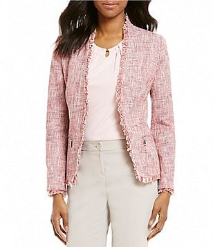 Ivanka Trump Frayed Edge Open-Front Long Sleeve Tweed Jacket