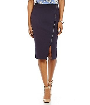 Ivanka Trump Asymmetrical Zip Front Ponte Pencil Skirt