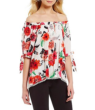 Takara Floral Printed Smocked Off-The-Shoulder Top