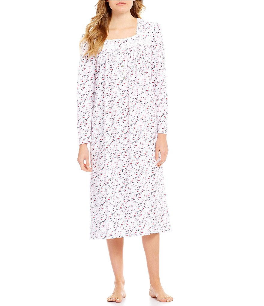 Eileen West Leaf-Print Peached Jersey Ballet Nightgown