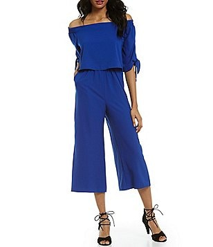 GB Off-The-Shoulder Popover Tie-Detail Side-Pockets Culotte Jumpsuit