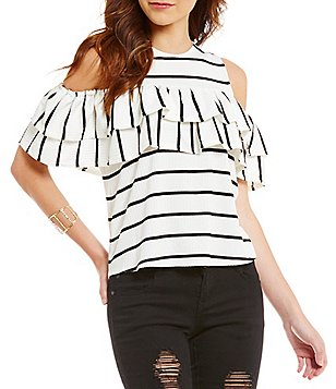 GB Striped Rib Knit Ruffled Cold Shoulder Top