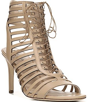 Via Spiga Valena Leather Lace Up Peep Toe Stiletto Gladiator Sandals