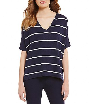 Eileen Fisher V-Neck Short Sleeve Boxy Top