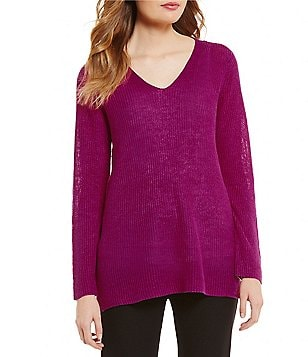 Eileen Fisher V-Neck Bracelet Sleeve Solid Sweater