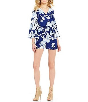 Skies Are Blue Floral Faux-Wrap V-Neck Long Bell Sleeve Romper