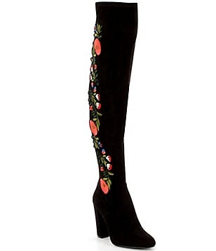 Steve Madden Envoke Suede Floral Embellished Over The Knee Block Heel Boots