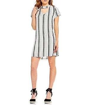 Skies Are Blue Choker Neck Short Sleeve Striped Shift Dress