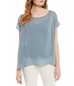 Eileen Fisher Bateau Neck Short Sleeve Box-Top