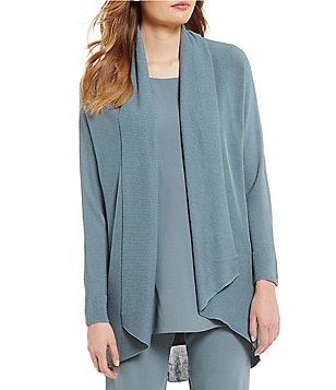 Eileen Fisher Draped Collar Open Front Solid Cardigan