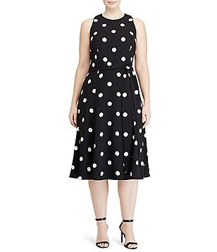 Lauren Ralph Lauren Plus Sleeveless Printed Crepe Fit-and-Flare Dress