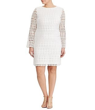 Lauren Ralph Lauren Plus Round Neck Long Sleeve Geometric Lace Shift Dress