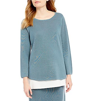 Eileen Fisher Round Neck Bracelet Sleeve Solid Sweater