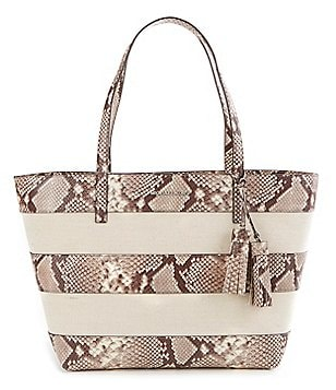 MICHAEL Michael Kors Tasseled Snake-Print Striped Canvas Large East/West Tote